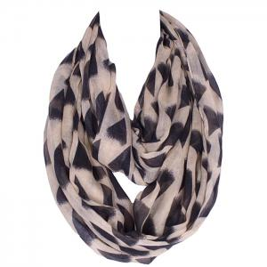 Chic Black Irregular Triangle Pattern Voile Bib Scarf For Women - Light Khaki - Xl