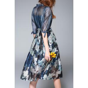 Floral Printed High Waist Dress - DEEP BLUE XL