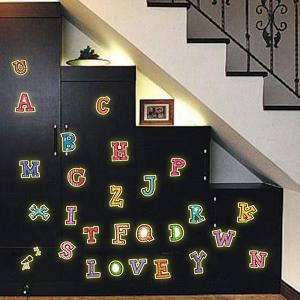 Fashion Luminous Colorful English Letters Pattern Wall Sticker For Bedroom Decoration -