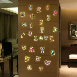 Fashion Luminous Colorful English Letters Pattern Wall Sticker For Bedroom Decoration - COLORFUL