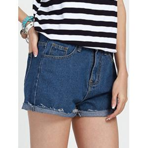 Casual Mid Waist Baggy Denim Shorts -