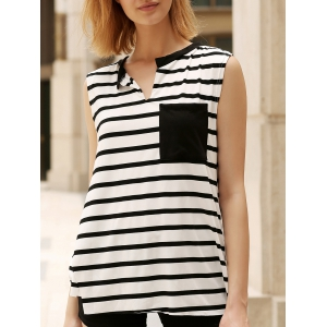 Pocket Striped Asymmetric Tank Top