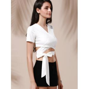 Sexy Plunging Neck Solid Color Wrap Cropped T-Shirt For Women -