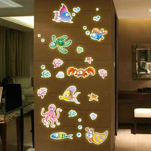 Fashion Luminous Underwater World Pattern Wall Sticker For Bedroom Decoration - COLORMIX