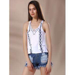 Chic V Neck Lace-Up Racerback Embroidered Women's Tank Top -