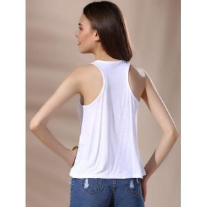 Chic V Neck Lace-Up Racerback Embroidered Women's Tank Top - WHITE S