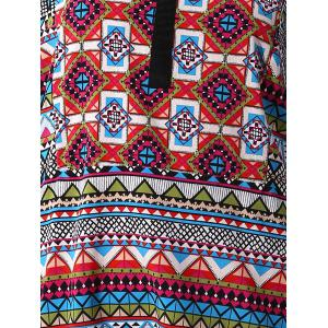 Casual Round Neck 3/4 Sleeve Tribal Print Women's Blouse - COLORMIX L