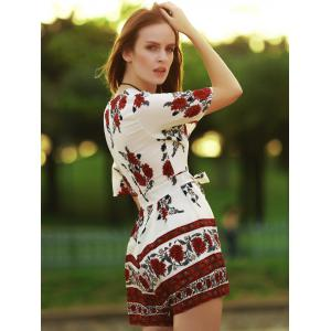 Trendy Plunging Neckline Short Sleeve Floral Print Romper For Women -