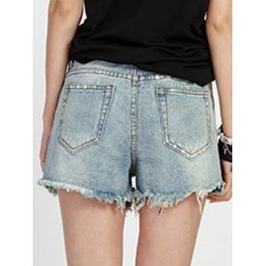 Mid Waist Hole Ripped Denim Shorts -