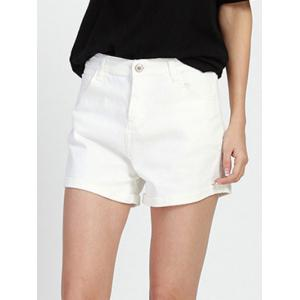 Chic Mid Waist White Women's Denim Shorts -