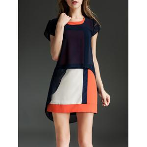 Trendy Scoop Neck Short Sleeve Color Block Faux Twinset Dress For Women -