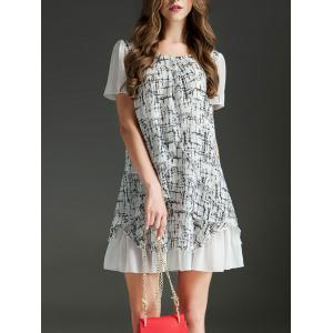 Trendy Scoop Neck Short Sleeve Printed Ruffled Dress For Women