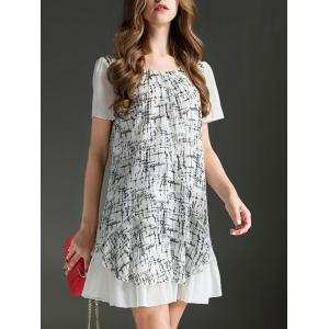 Trendy Scoop Neck Short Sleeve Printed Ruffled Dress For Women -