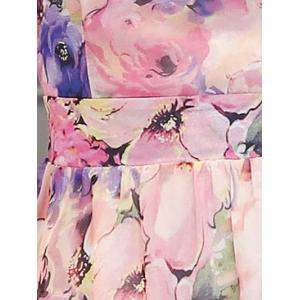 Sweet Square Neck Floral Print Cap Sleeve Women's Dress -