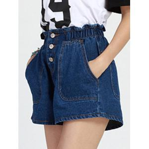 Stylish Elastic Waist Buttoned Wide Leg Blue Shorts for Women -