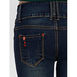 High Waist Skinny Cuffed Jeans -