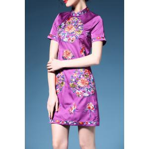 Retro Short Sleeve Cheongsam Dress -