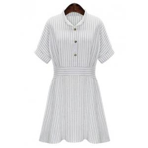 Chic Women's Plus Size Striped Shirt Collar Shirt Dress
