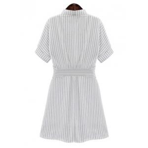 Chic Women's Plus Size Striped Shirt Collar Shirt Dress - WHITE L
