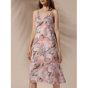 Spaghetti Strap Floral Pleated Summer Dress