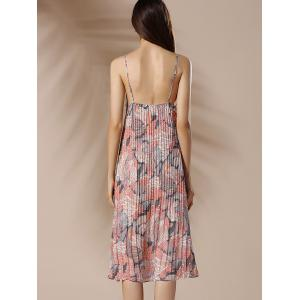 Spaghetti Strap Floral Pleated Summer Dress - COLORMIX S