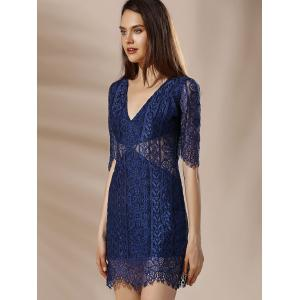 Alluring Plunging Neck Half Sleeve Lace Design Women's Dress -