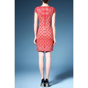 Embroidered Fish Scale Prom Dress -