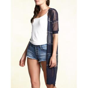 Stylish Collarless Short Sleeve Striped See-Through Cardigan For Women -