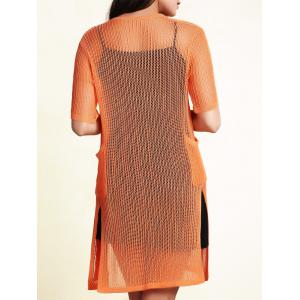 Stylish Collarless Short Sleeve Openwork Cardigan For Women -