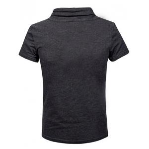 Fashion Heaps Collar Single-Breasted Solid Color Short Sleeves Sweatshirt For Men - DEEP GRAY M