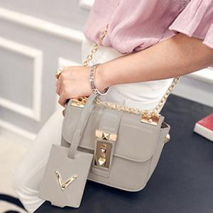 Vintage Patent Leather and Chains Design Cossbody Bag For Women -