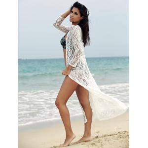 Lace Cover-Up Long Sleeve Maxi Long Beach Kimono Robe - WHITE S