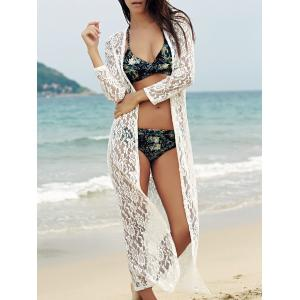 Lace Cover-Up Long Sleeve Maxi Long Beach Kimono Robe