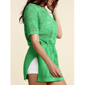 Stylish Scoop Neck Short Sleeve Openwork Drawstring Sweater For Women - GREEN ONE SIZE(FIT SIZE XS TO M)