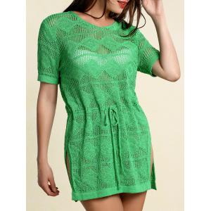 Stylish Scoop Neck Short Sleeve Openwork Drawstring Sweater For Women