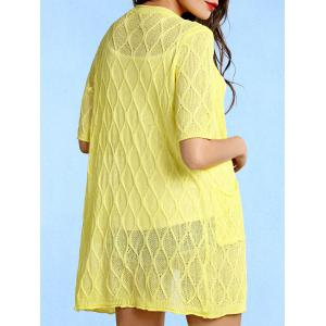 Stylish Collarless Pattern Knit Short Sleeve Cardigan For Women - YELLOW ONE SIZE(FIT SIZE XS TO M)