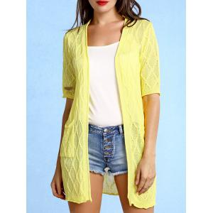 Stylish Collarless Pattern Knit Short Sleeve Cardigan For Women - Yellow - One Size(fit Size Xs To M)