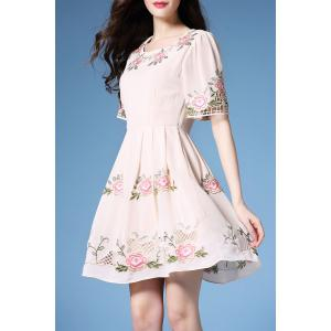 Embroidered Hollow Out Dress -