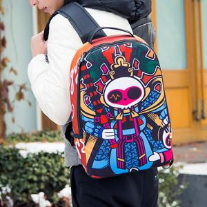 Leisure Peking Mask and Multicolor Design Backpack For Men - COLORMIX