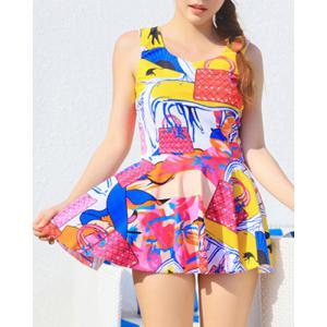 Colorful Print Skirted Tankini Swimwear