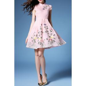 Floral Embroidered Plteated A Line Dress -
