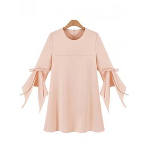 Chic Women's Plus Size Bell Sleeve Pure Color Dress - Pink - 2xl