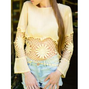 Fashionable Jewel Neck Long Sleeve Crochet Blouse For Women