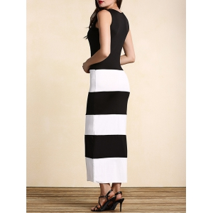 Casual Scoop Neck Sleeveless Wide Striped Maxi Dress For Women -