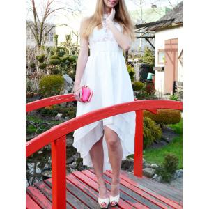 Elegant White Sleeveless Layered Asymmetric Maxi Dress For Women