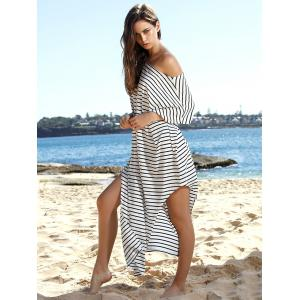 Stylish Short Sleeve Striped Asymmetric Dress For Women