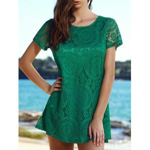 Stylish Round Collar Short Sleeve Solid Color Lace Women's Dress - Green - S