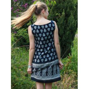 Stylish Scoop Collar Tribal Print Sleeveless Dress For Women -