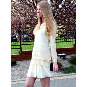 Long Sleeve Lace Embellished Solid Color Skirt Hem Women's T-shirt - OFF-WHITE XL