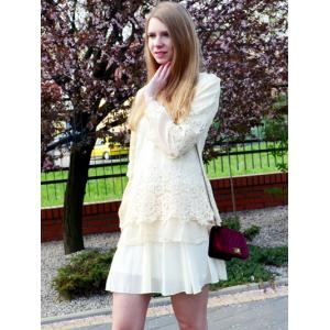 Long Sleeve Lace Embellished Solid Color Skirt Hem Women's T-shirt -